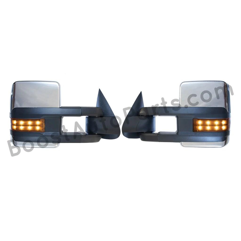 hight resolution of boost auto parts tow towing mirrors mirror chevy gm gmc silverado sierra 1500 2500hd duramax black