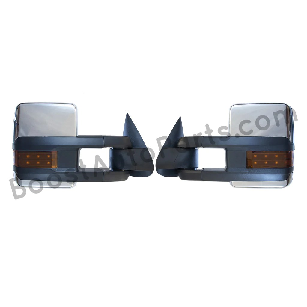 boost auto parts tow towing mirrors mirror chevy gm gmc silverado sierra 1500 2500hd duramax black [ 1024 x 1024 Pixel ]