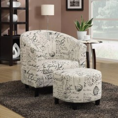 Accent Chairs With Ottomans Chair Height Metal Stool Ottoman Off White French Script Pattern Jennifer Furniture