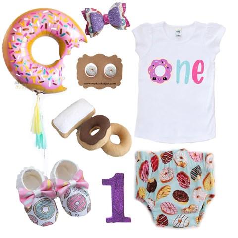 donut birthday outfit flatlay