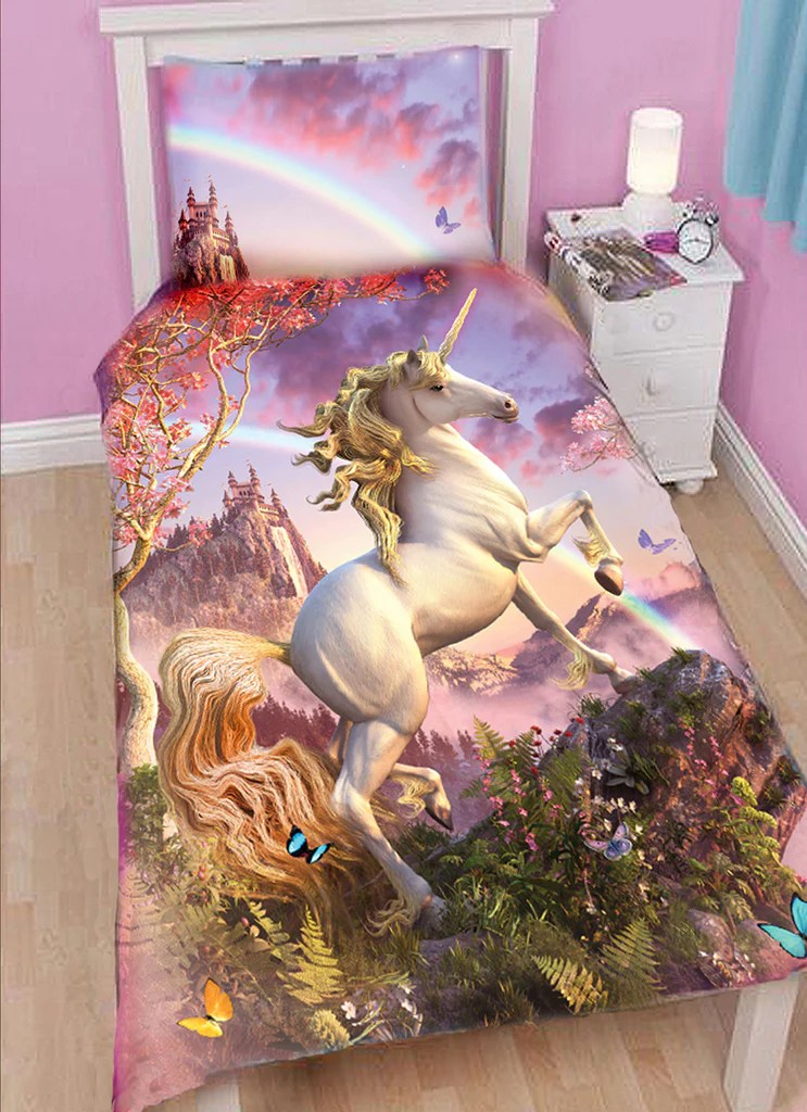 AWESOME UNICORN Duvet Set For Single Bed Wild Star Hearts