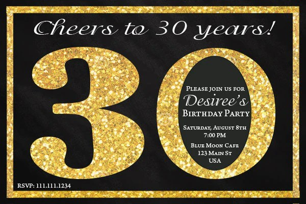 Black And Gold 30th Birthday Invitation Jills Creative