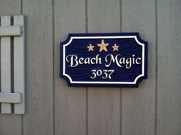 Custom Carved Address sign with Beach theme  The Carving Company
