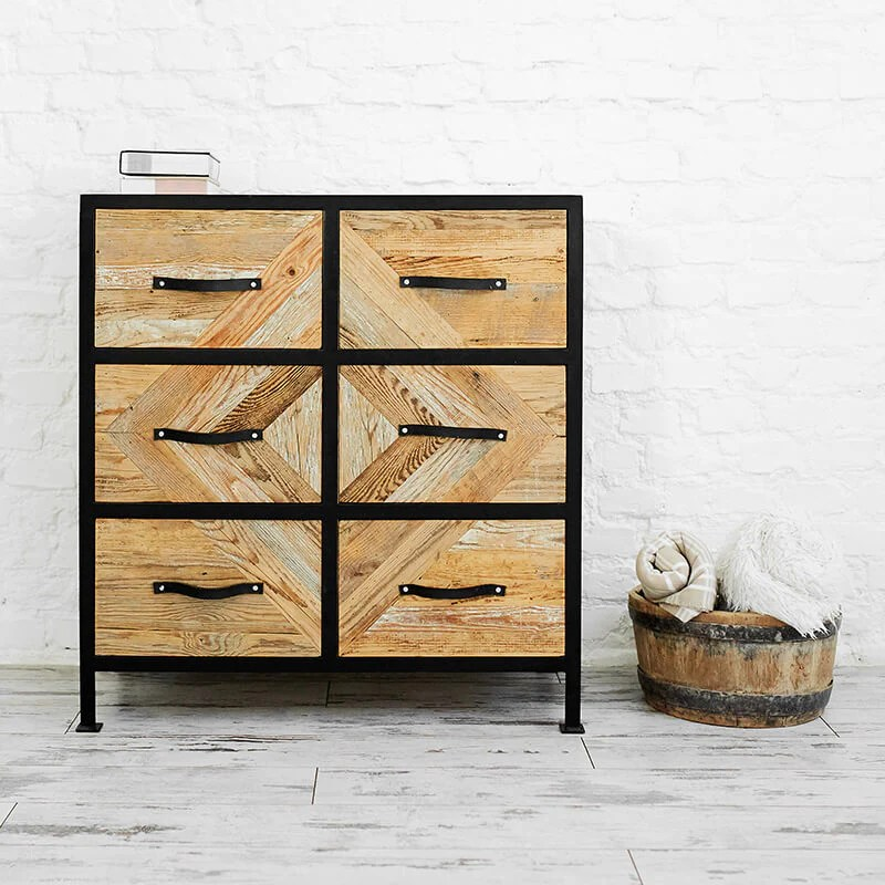 chest of drawers with wood mosaic