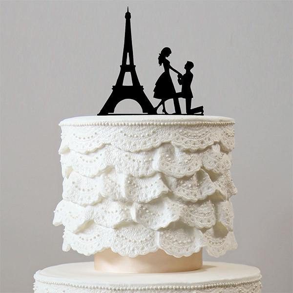 Romantic Proposing Wedding Cake Topper Engagement Paris