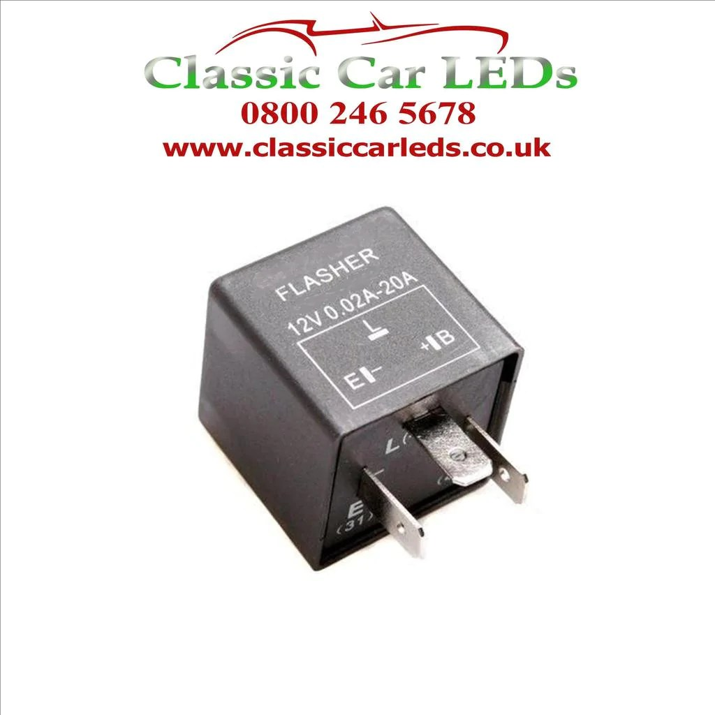ferrari 12v 3 pin electronic flasher hazard relay part 61048000 classic car leds ltd [ 1024 x 1024 Pixel ]