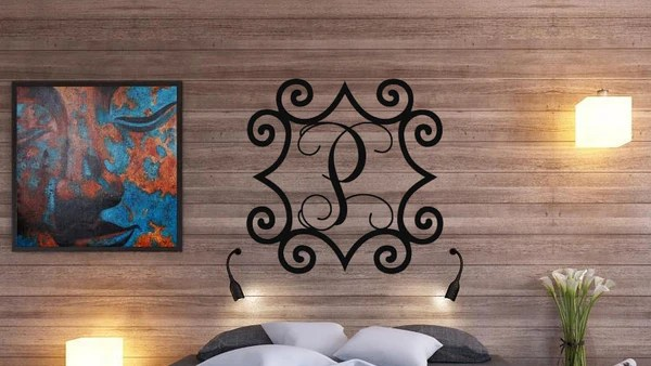 Wrought Iron Inspired Metal Wall Art With Monogram Initial Sams Metal Works