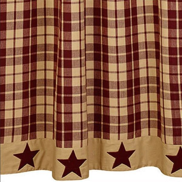 burgundy kitchen curtains free standing cabinets for farmhouse star shower curtain - allysons place