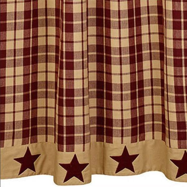 Burgundy Farmhouse Star Shower Curtain  Allysons Place