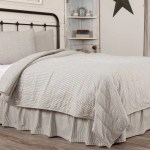 Hatteras Seersucker Blue Ticking Stripe California King Quilt Coverlet Allysons Place