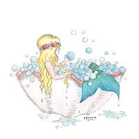 Mermaid Bubble Bath Art Prints Set of 4, 5x5 - Seatail