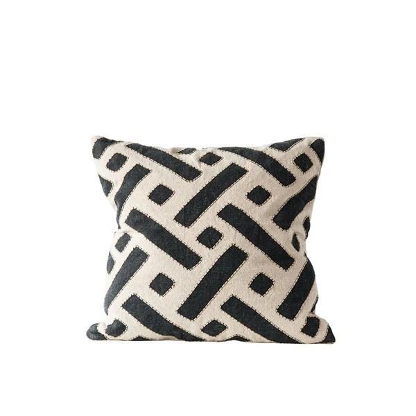 black and white kuba cloth pillow