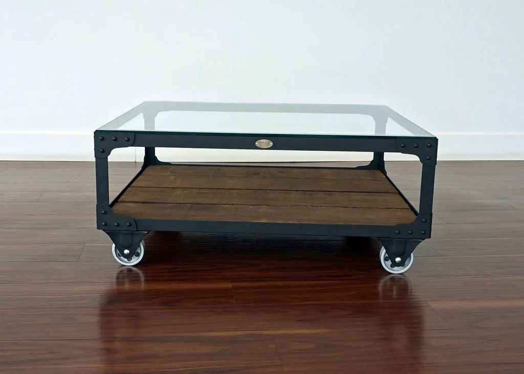 industrial glass top coffee table railroad junction cart table