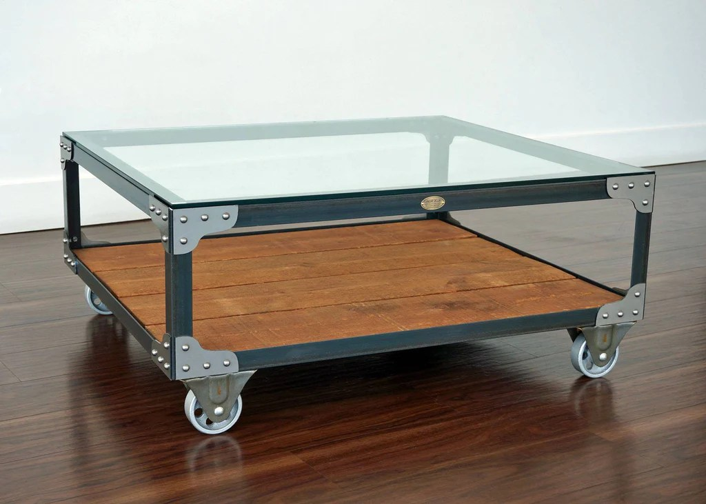 industrial glass top coffee table tannery cart coffee table