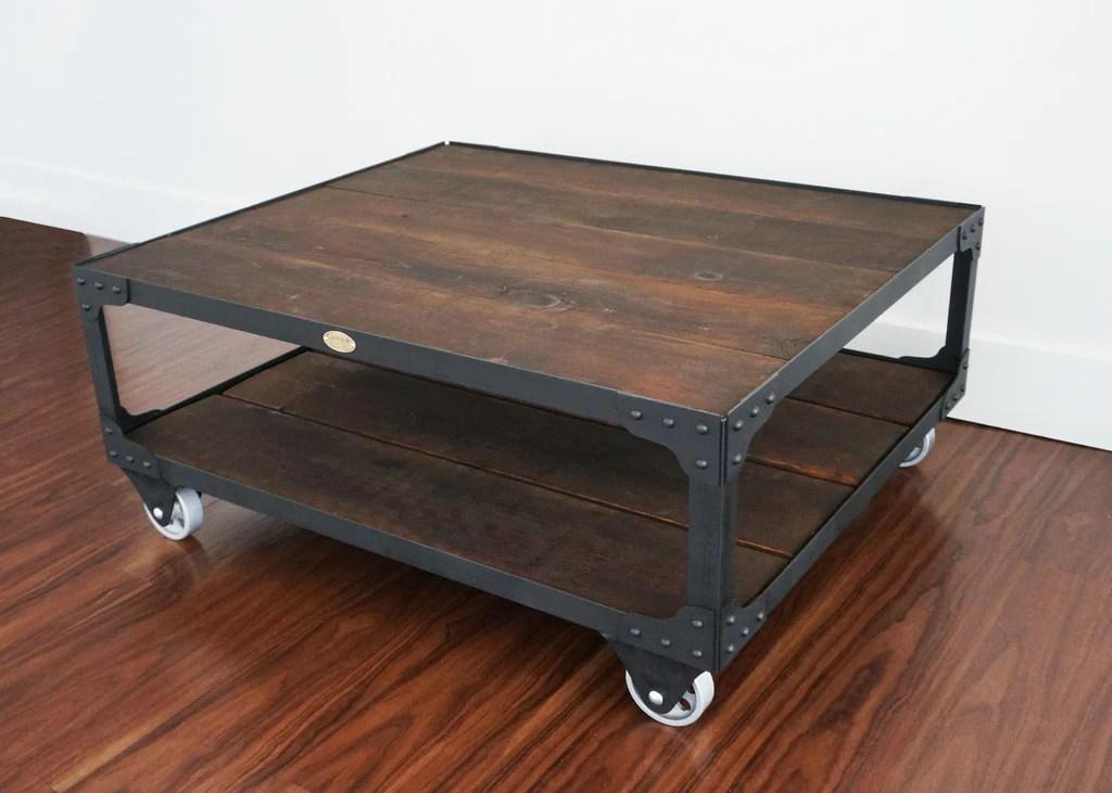 industrial wood top coffee table hollywood studio set coffee table
