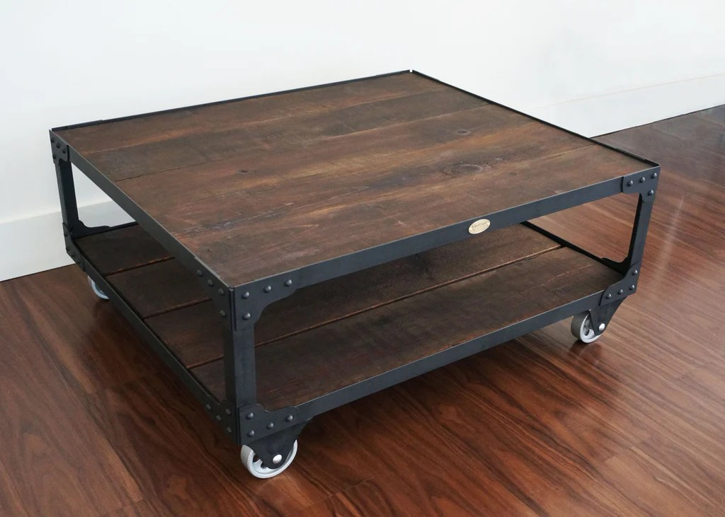 Industrial Wood Top Coffee Table Hollywood Studio Set Coffee Table Retroworks