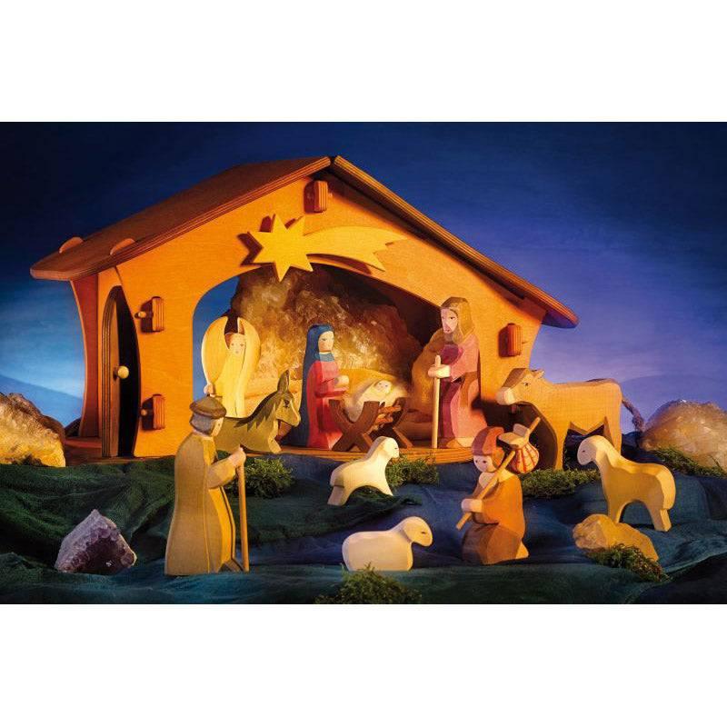 Ostheimer Wooden Nativity Figures Boxed Set Style Ii