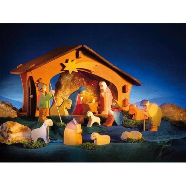 Ostheimer 13 Piece Nativity Set Stable Wooden Toy