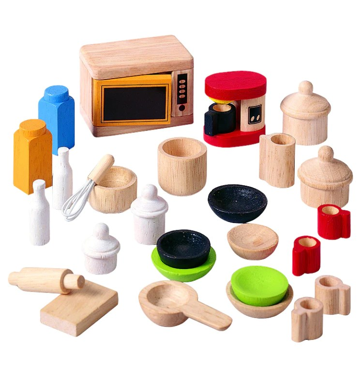 kitchen accesories 3 piece set plan toys dollhouse accessories and tableware 94061