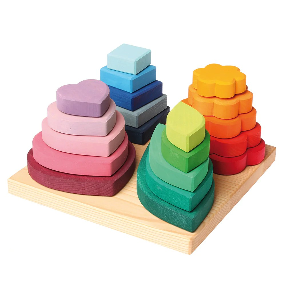 Grimm S Shapes And Colors Wooden Stacking And Sorting Toy