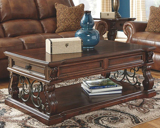 alymere coffee table with lift top rustic brown t869 9 si
