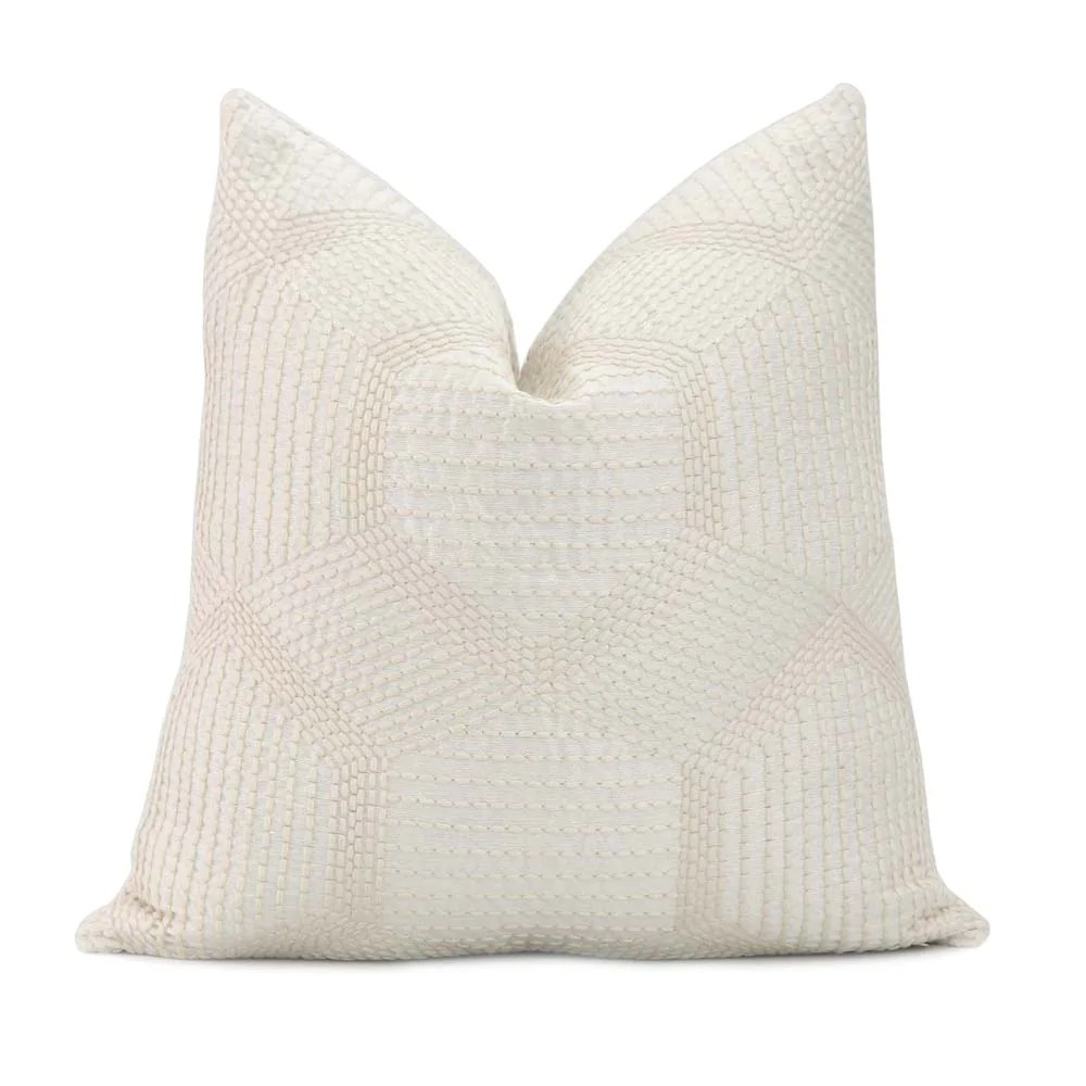 tortuga embroidered ivory pillow cover