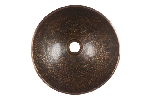 13 round hand forged old world copper vessel sink with orb single han eli home products