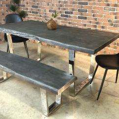Live Edge Kitchen Table Black Hardware Acacia Dining With Chrome U Shaped Legs Grey Color Wazo Furniture