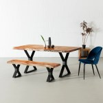 Acacia Live Edge Dining Table With Black X Shaped Legs Natural Color Wazo Furniture