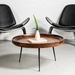 Selma Walnut Mango Wood Modern Round Coffee Table With Metal Legs Wazo Furniture