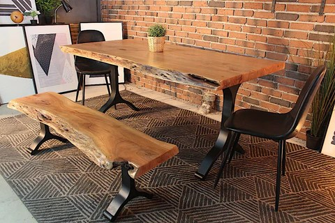 live edge kitchen table industrial lighting acacia dining with black y shaped legs natural color wazo furniture