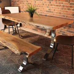 Live Edge Kitchen Table Antique Metal Cabinet Acacia Dining With Chrome Y Shaped Legs Natural Color Wazo Furniture