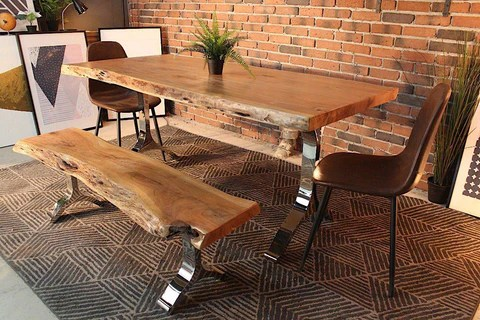 kitchen table make your own cabinets acacia live edge dining with chrome y shaped legs natural color wazo furniture