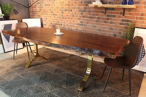 live edge kitchen table build your own cabinets acacia dining with gold y shaped legs honey walnut wazo furniture