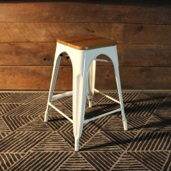 White Metal And Wood Chairs Rocking Chair With Cradle Tolix Bar Stool Wooden Seat 65cm  Wazo