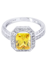 Citrine & Crystal Promise Ring 10K Gold   4.2 Grams  FrostNYC