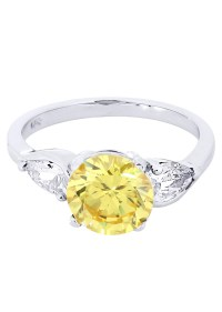 Citrine & Crystal Promise Ring 10K Gold   4.3 Grams  FrostNYC