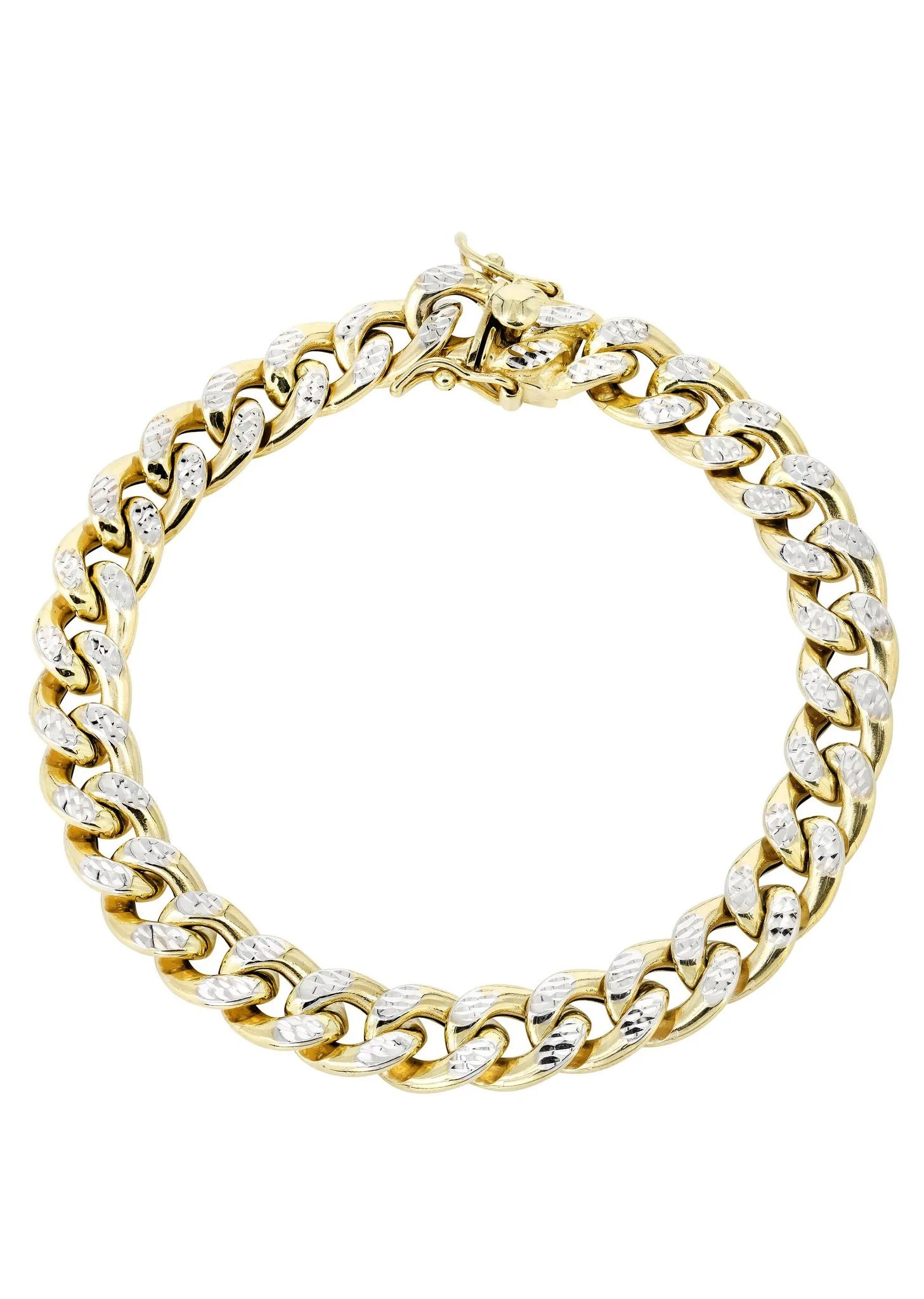 Hollow Mens Diamond Cut Miami Cuban Link Bracelet 10k Gold Frostnyc