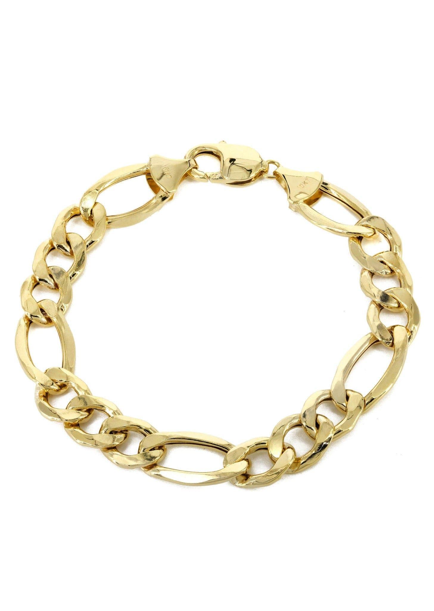 10k Gold Bracelet Solid Figaro Frostnyc