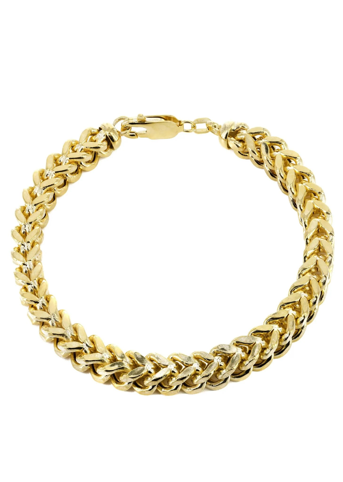 Hollow Mens Franco Bracelet 10k Yellow Gold Frostnyc