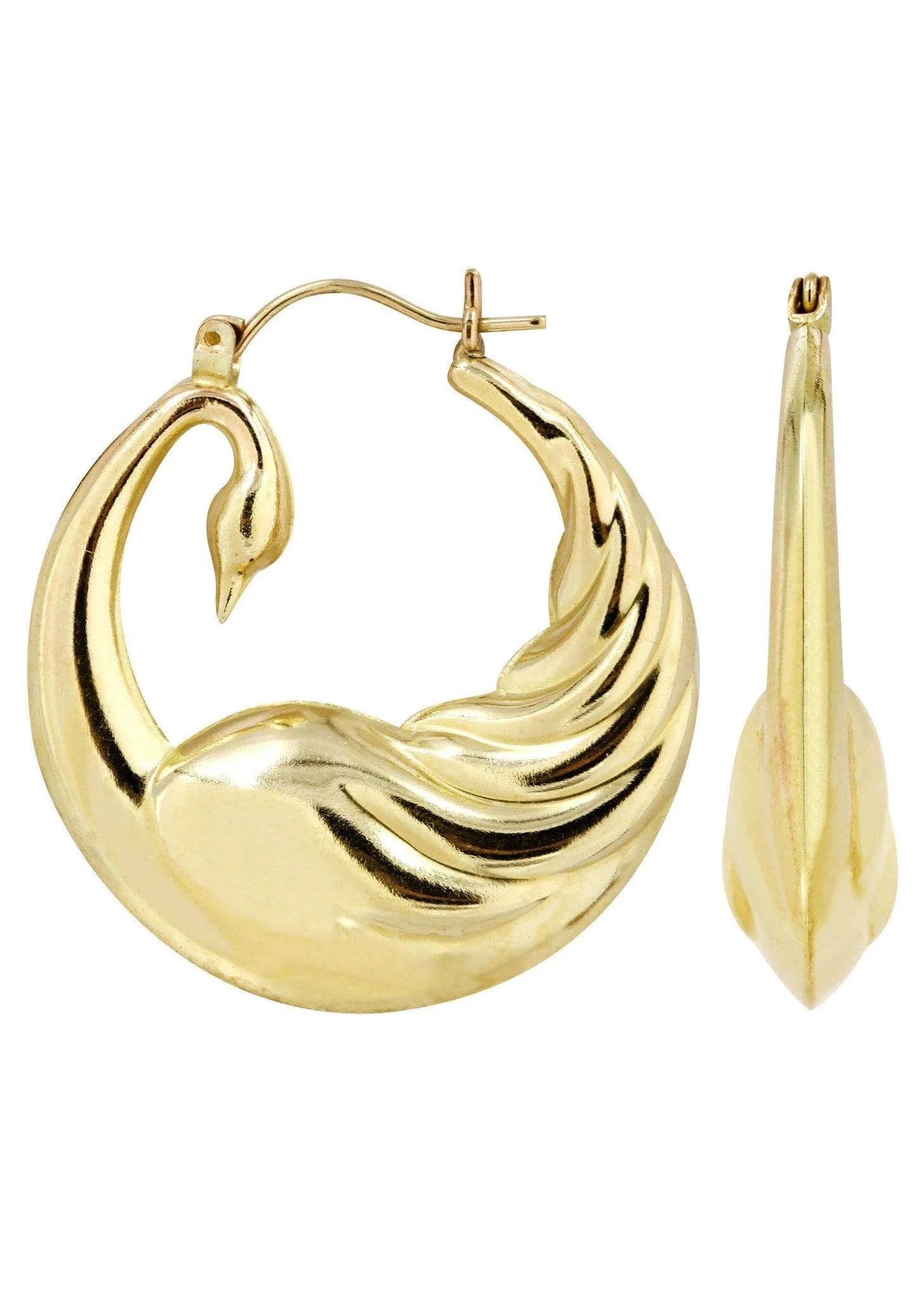 10k Gold Goose Hoop Earrings Diameter 1.25 Inches Frostnyc