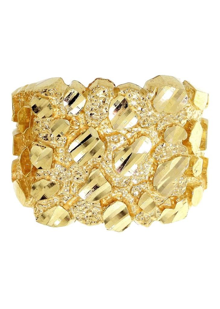 Nugget 10K Yellow Gold Mens Ring.