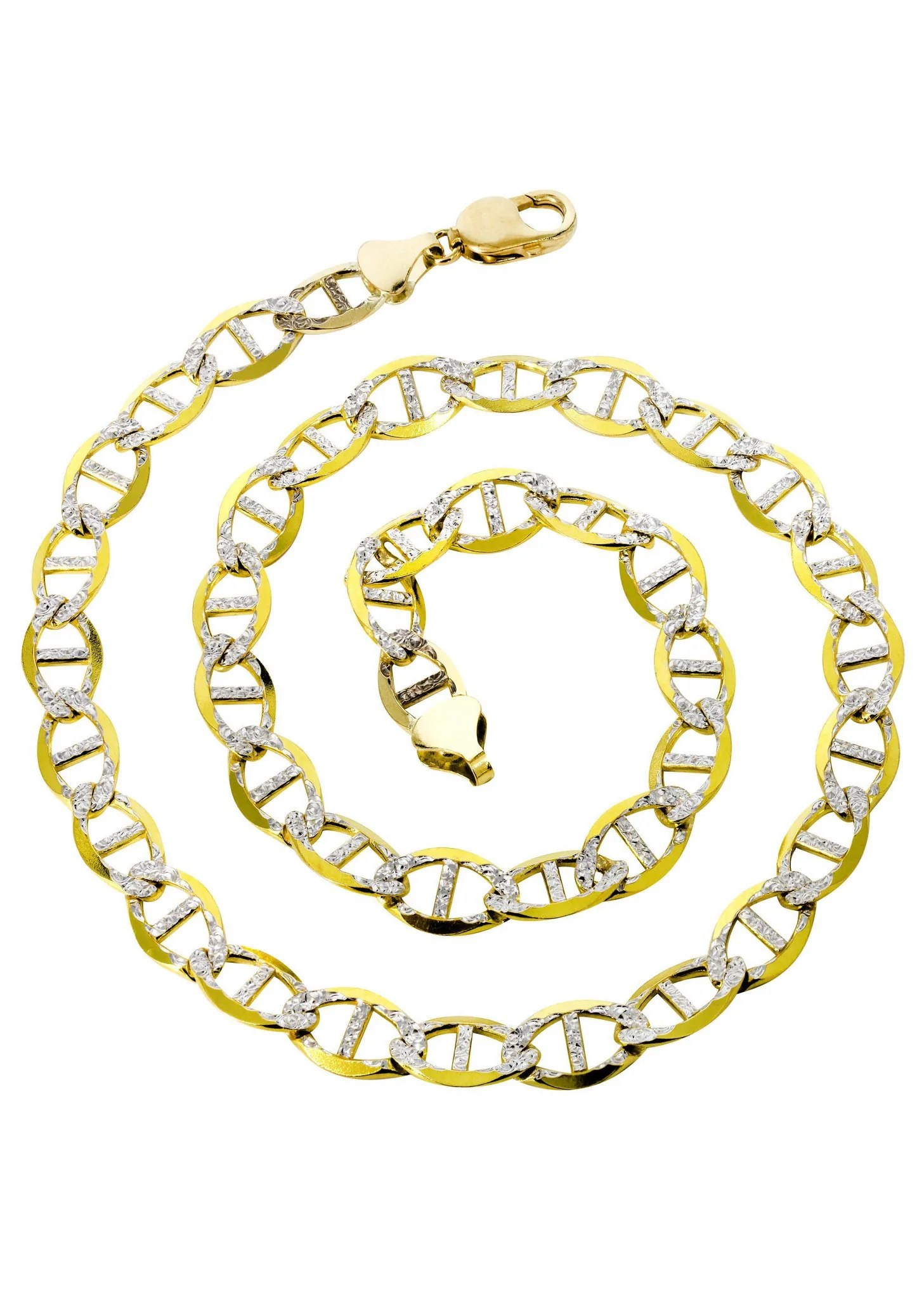 14k Gold Chain - Solid Diamond Cut Mariner Frostnyc
