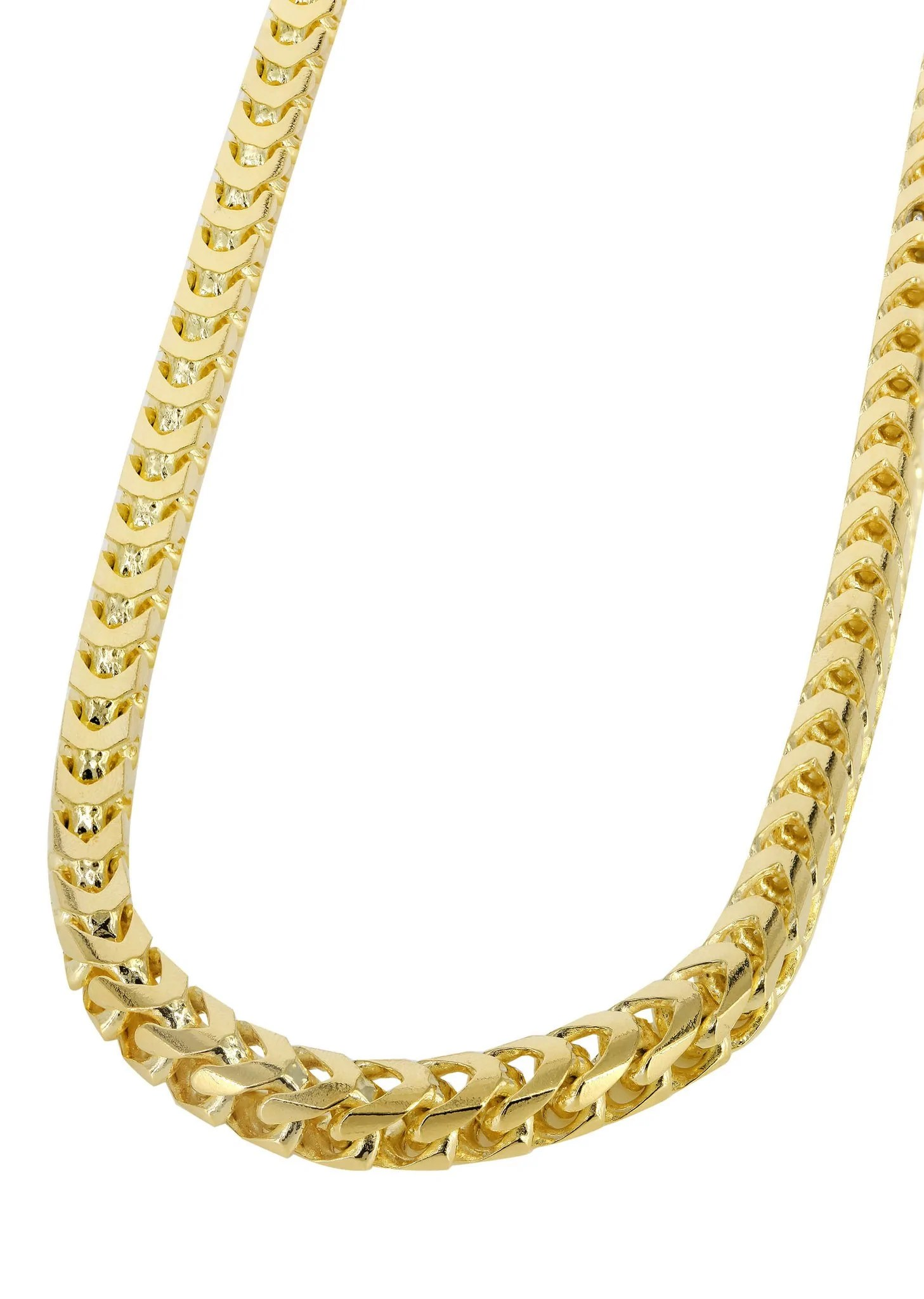 Solid Mens Franco Chain 10k Yellow Gold Frostnyc