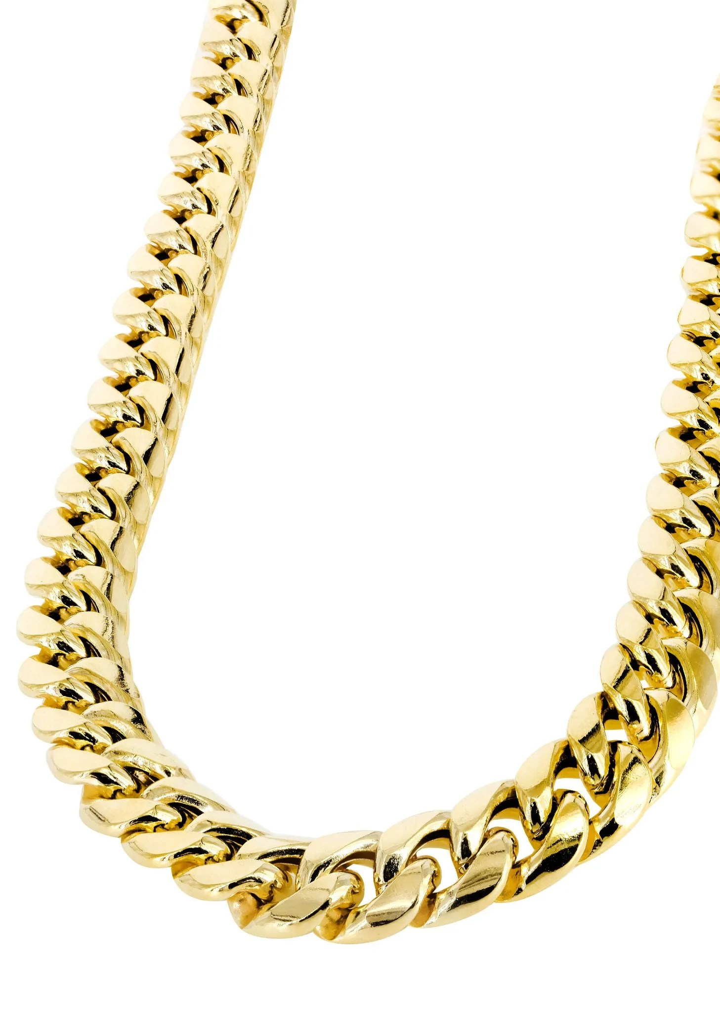 Hollow Mens Miami Cuban Link Chain 10k Yellow Gold Frostnyc