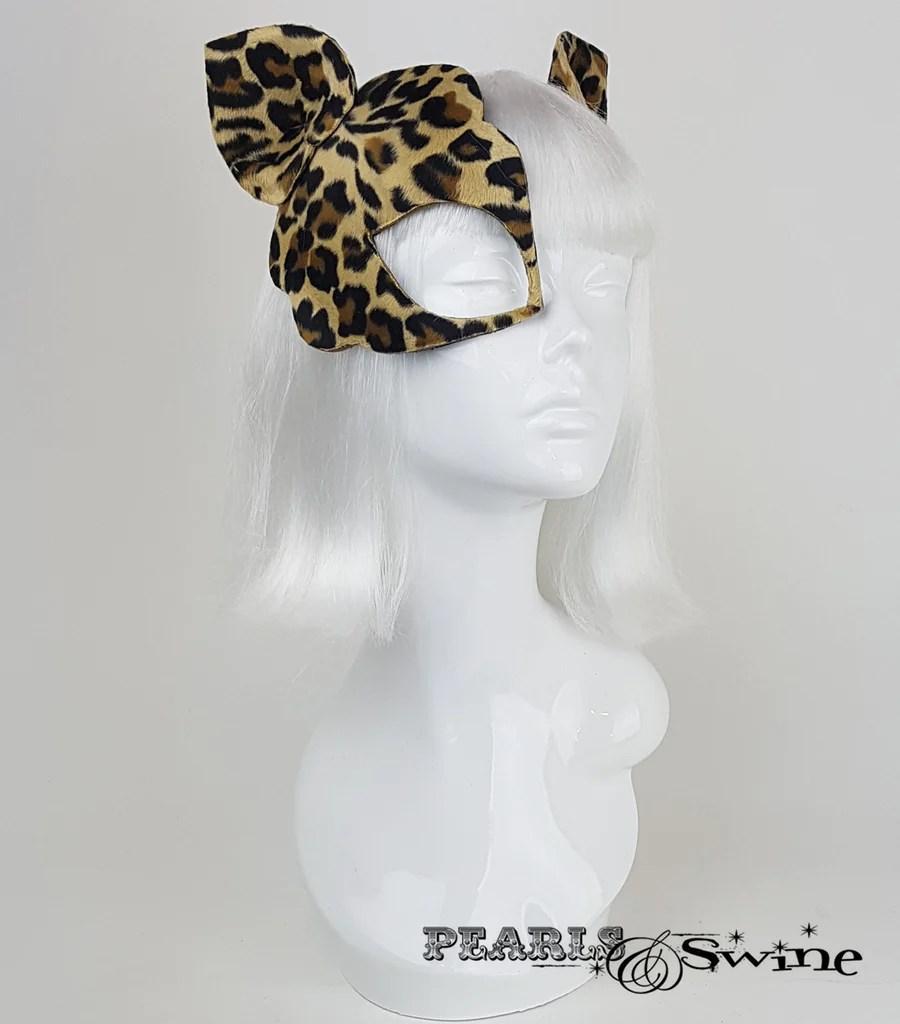 """Leopard Print Velvet Mask Fascinator """"love Cats"""
