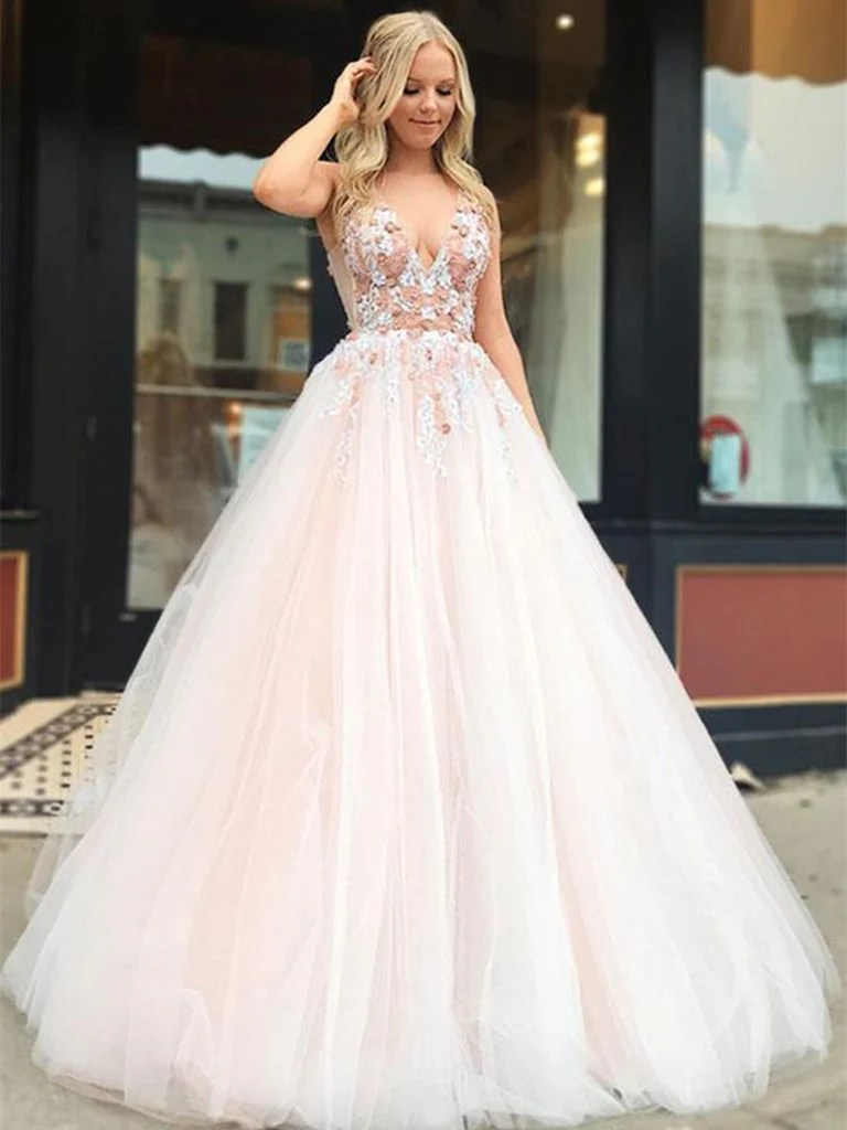 V Neck Tulle Lace Applique Light Pink Long Prom Dresses Light Pink Fo  Shiny Party