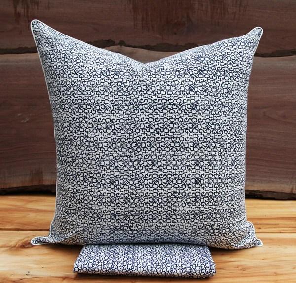 suzani rowscolour indigopillow sham kiska textiles