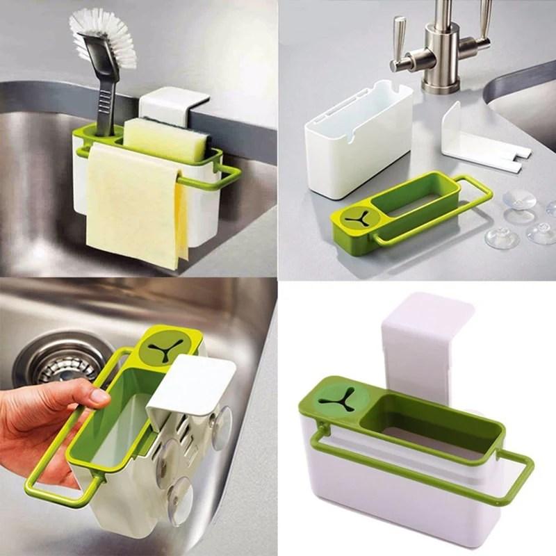 kitchen caddy walmart appliances anti bacterial plastic sink organizer sponge holder rack green white