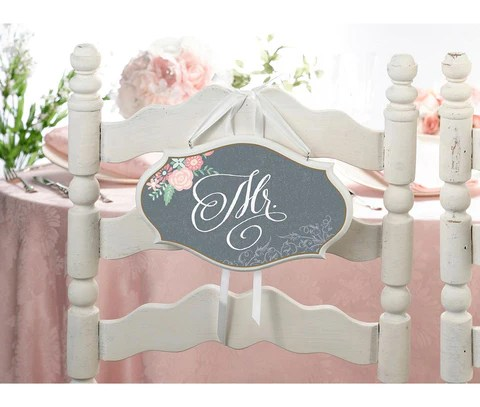 chair accessories for weddings best folding bad back mr mrs vintage wedding sign marry me gifts